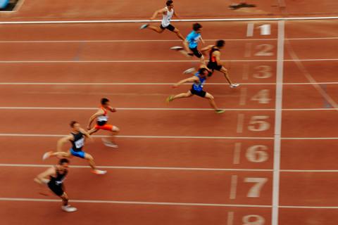 Sprinter kurz dem Ziel