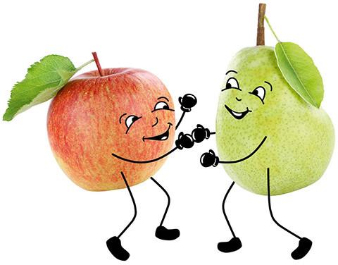 Freunschaftlicher Boxkampf zwischen einer Birne und einem Apfel