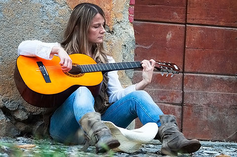 Straßenmusikerin