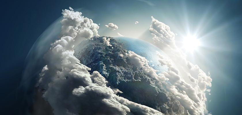 Sonnenaufgang über der Weltkugel